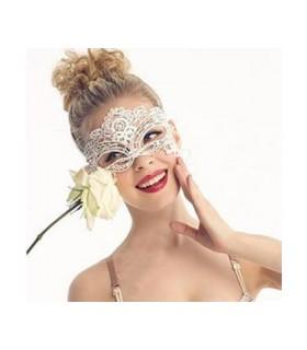 μάσκα δαντέλα λευκή looklike.gr