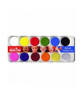 Παλέτα 12 Aqua Χρωμάτων Face Painting για μακιγιάζ, από το looklike.gr