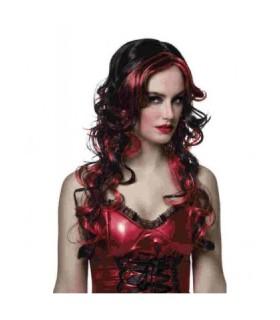 Ποιοτική περούκα διαβολίνας δίχρωμη, μαύρη κόκκινη άμεσα διαθέσιμη όλο το χρόνο