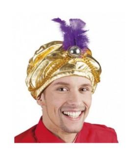 Αποκριάτικο καπέλο σε χρυσό χρώμα, ιδανικό για μεταμφίεση σουλτάνου ή τζινι, άμεσα διαθέσιμο όλο το χρόνο