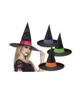 Μοντέρνο καπέλο μάγισσας δίχρωμο για εντυπωσιακές μεταμφιέσεις