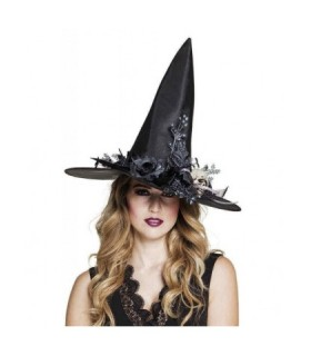 Εντυπωσιακό αποκριάτικο καπέλο μάγισσας με διακοσμητικά
