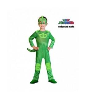 Πράσινη παιδική στολή PJ Masks πιτζαμοήρωας GEKKO Αυθεντική 4-5 ετών από το looklike.gr