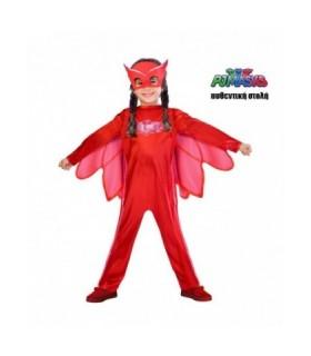 Κόκκινη παιδική στολή PJ Masks πιτζαμοήρωας OWLETTE Αυθεντική 6-7 ετών από το looklike.gr