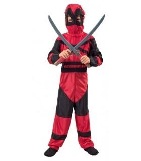 Αποκριάτικη στολή Νίντζα Πολεμιστής σε κόκκινο μαύρο χρώμα