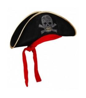 Αποκριάτικο καπέλο πειρατή με κορδέλα και σήμα