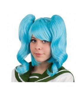 Αποκριάτικη Περούκα με Κοτσίδες Μπλε από το Looklike.gr